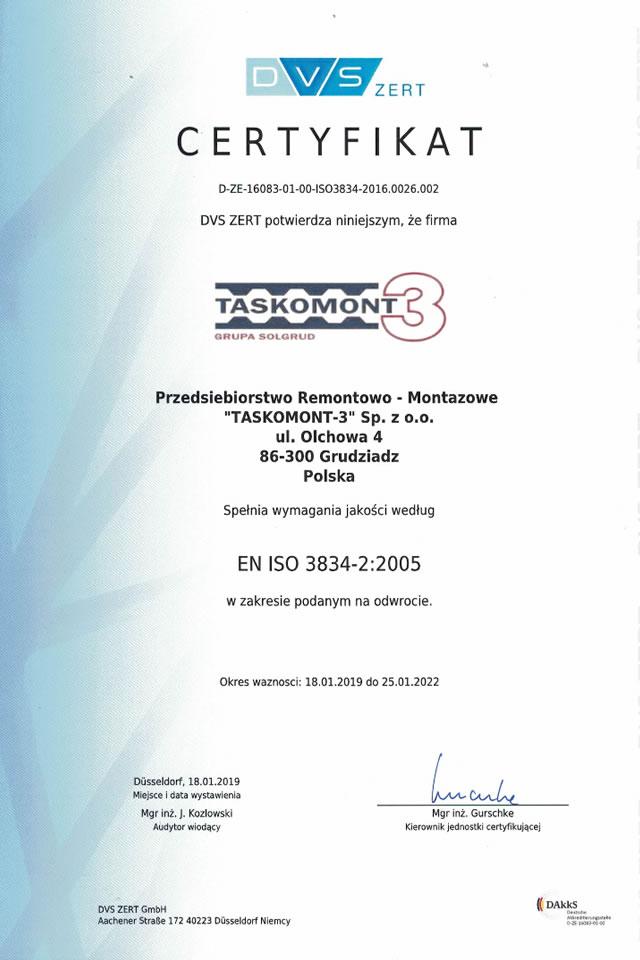 Certyfikat DVS ZERT dla Taskomont-3