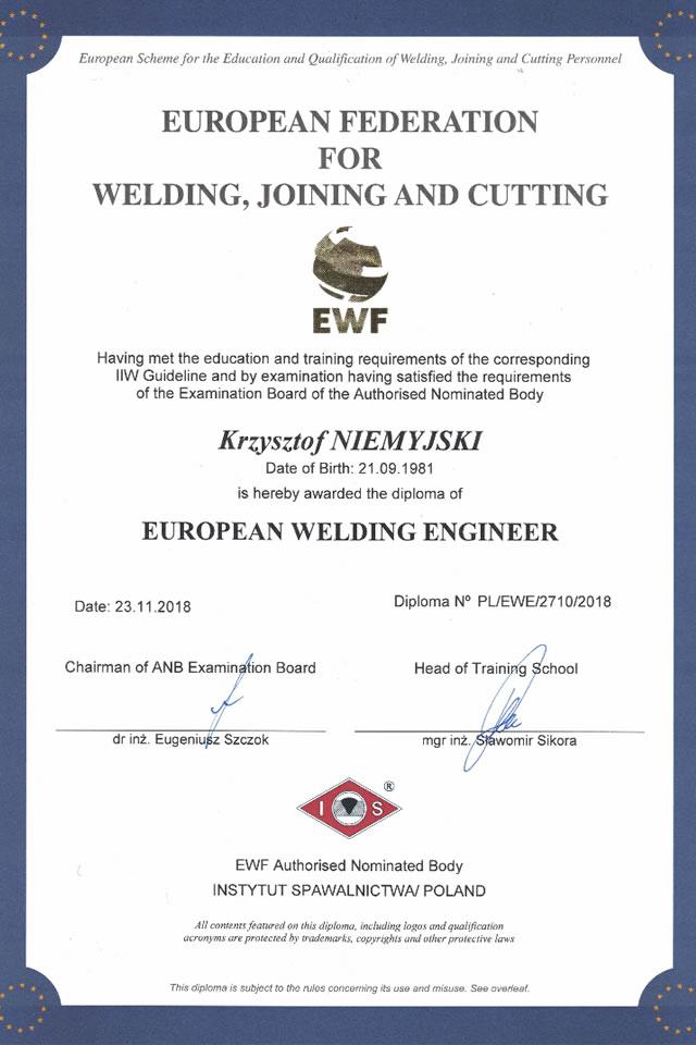 Dyplom EWE Krzysztof Niemyjski