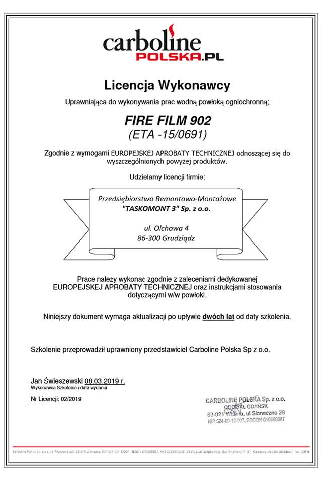 Licencja wykonawcy Carboline Polska