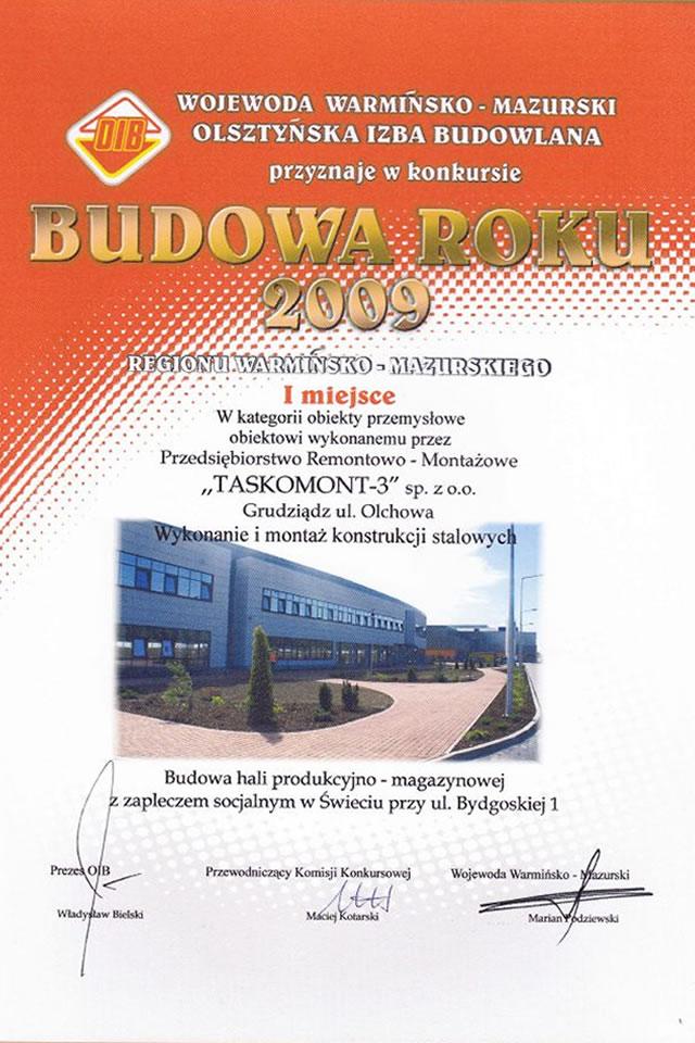 Certyfikat budowa roku 2009 za pierwsze miejsce
