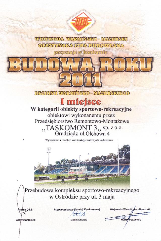 Certyfikat budowa roku 2011 za pierwsze miejsce